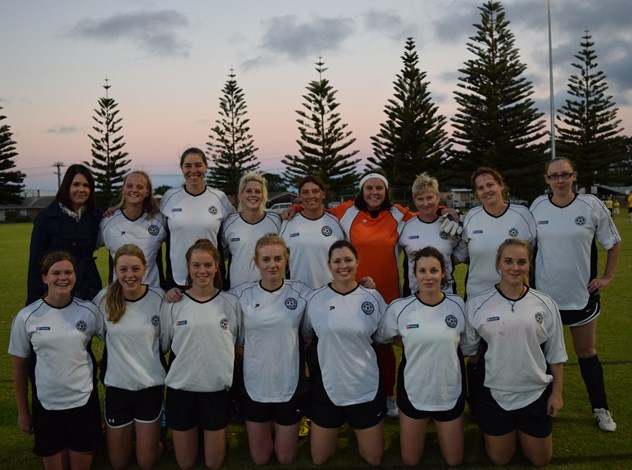 The first Esperance women's soccer team, established at the start of 2015, pictured before their historic first match against a visiting side from Boulder